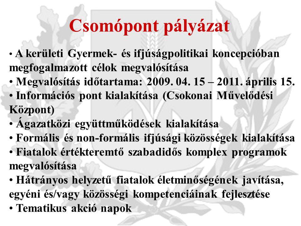 Csomópont pályázat A kerületi Gyermek- és ifjúságpolitikai koncepcióban megfogalmazott célok megvalósítása Megvalósítás időtartama: 2009.