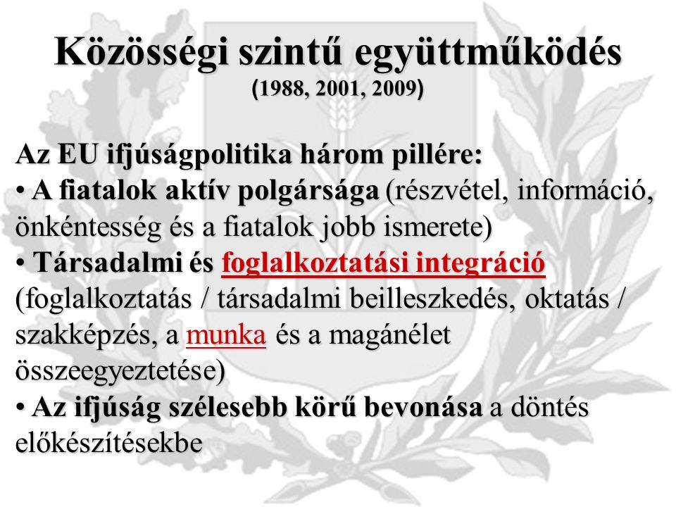 Közösségi szintű együttműködés ( 1988, 2001, 2009 ) Az EU ifjúságpolitika három pillére: A fiatalok aktív polgársága (részvétel, információ, önkéntesség és a fiatalok jobb ismerete) A fiatalok aktív polgársága (részvétel, információ, önkéntesség és a fiatalok jobb ismerete) Társadalmi és foglalkoztatási integráció (foglalkoztatás / társadalmi beilleszkedés, oktatás / szakképzés, a munka és a magánélet összeegyeztetése) Társadalmi és foglalkoztatási integráció (foglalkoztatás / társadalmi beilleszkedés, oktatás / szakképzés, a munka és a magánélet összeegyeztetése) Az ifjúság szélesebb körű bevonása a döntés előkészítésekbe Az ifjúság szélesebb körű bevonása a döntés előkészítésekbe