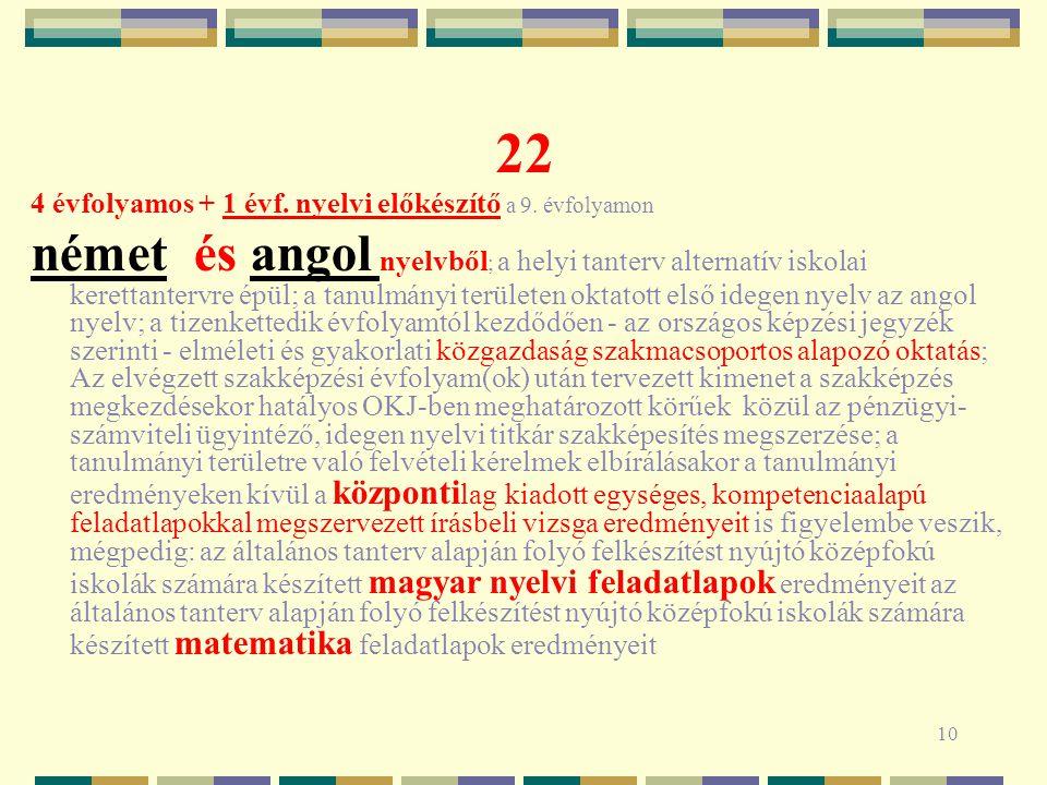 10 22 4 évfolyamos + 1 évf. nyelvi előkészítő a 9.