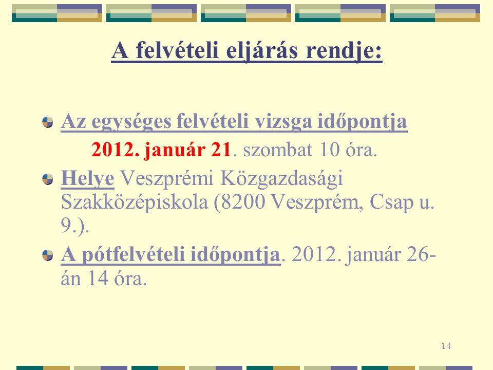 14 A felvételi eljárás rendje: Az egységes felvételi vizsga időpontja 2012.