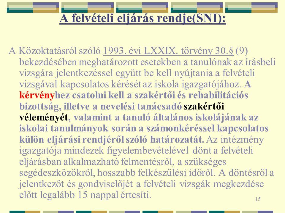 15 A felvételi eljárás rendje(SNI): A Közoktatásról szóló 1993.