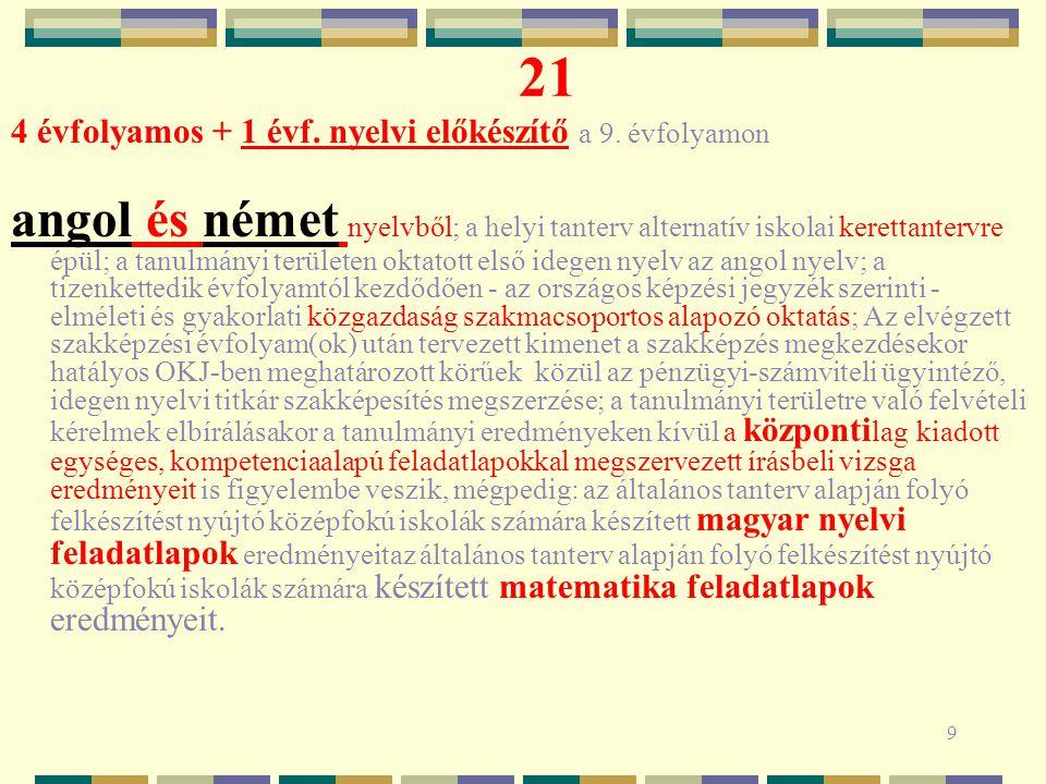9 21 4 évfolyamos + 1 évf. nyelvi előkészítő a 9.