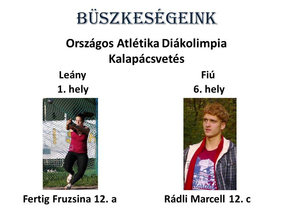 Büszkeségeink Országos Atlétika Diákolimpia Normál táv 7. hely Tóth Krisztina 13.c