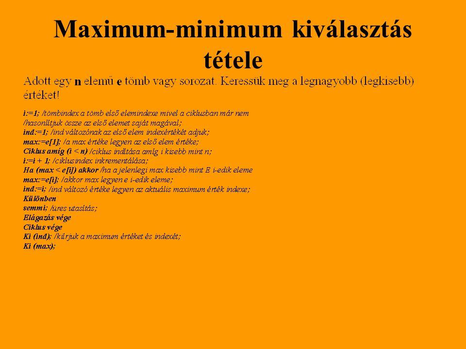 Maximum-minimum kiválasztás tétele
