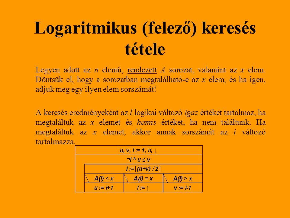 Logaritmikus (felező) keresés tétele Legyen adott az n elemű, rendezett A sorozat, valamint az x elem. Döntsük el, hogy a sorozatban megtalálható-e az