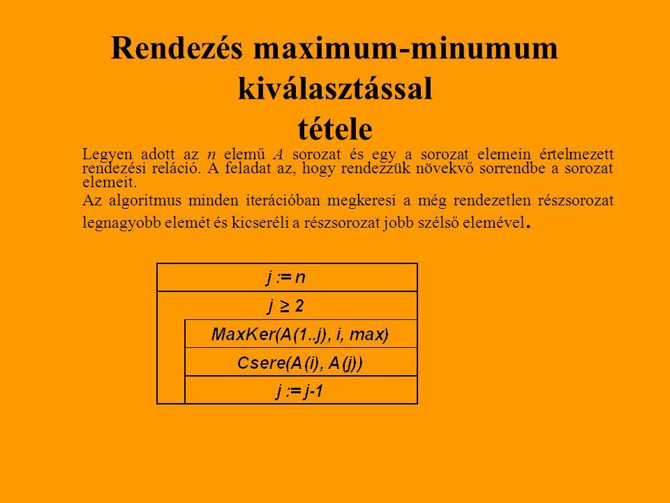 Rendezés maximum-minumum kiválasztással tétele Legyen adott az n elemű A sorozat és egy a sorozat elemein értelmezett rendezési reláció. A feladat az,