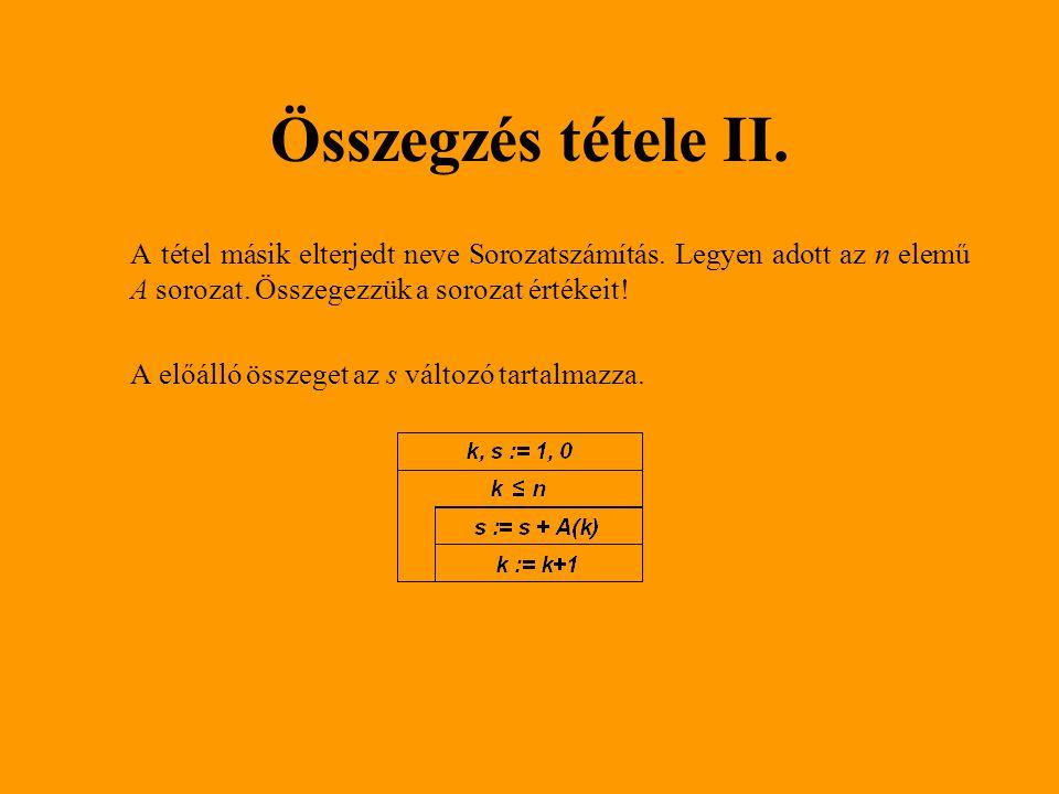 Keresés i:=0 talált:=hamis Ciklus amíg ((nem talált) ÉS (i < 5)) i:=i + 1 talált:=(tömb[i] mod 2 = 0) Ciklus vége Ha (talált) Ki(i) Különben Ki('Nincs ilyen!') Elágazás vége 1512111714 Tömb: i = 3 talált = igaz