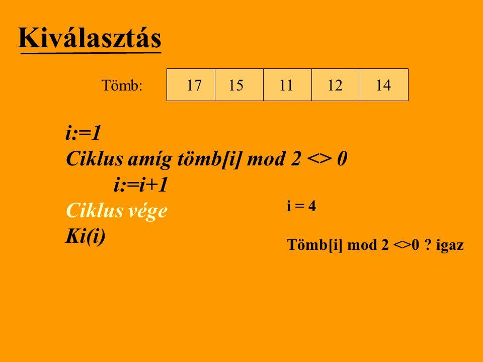 Kiválasztás i:=1 Ciklus amíg tömb[i] mod 2 <> 0 i:=i+1 Ciklus vége Ki(i) i = 4 Tömb[i] mod 2 <>0 ? igaz 1512111714Tömb: