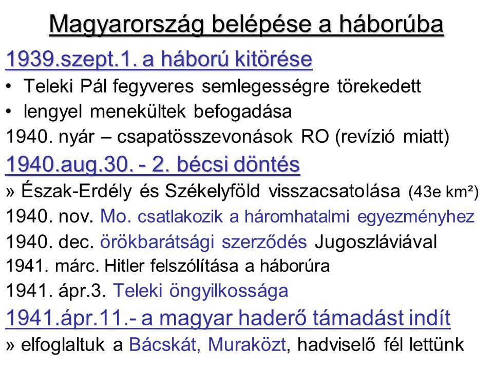 Magyarország belépése a háborúba 1939.szept.1.
