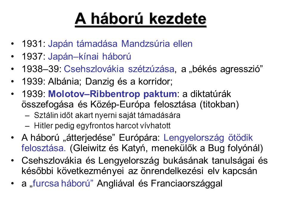 """A háború kezdete 1931: Japán támadása Mandzsúria ellen 1937: Japán–kínai háború 1938–39: Csehszlovákia szétzúzása, a """"békés agresszió"""" 1939: Albánia;"""