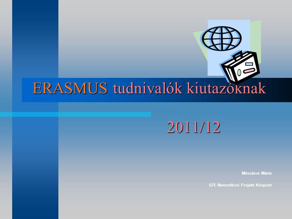 ERASMUS tudnivalók kiutazóknak 2011/12 Mészáros Márta SZE Nemzetközi Projekt Központ