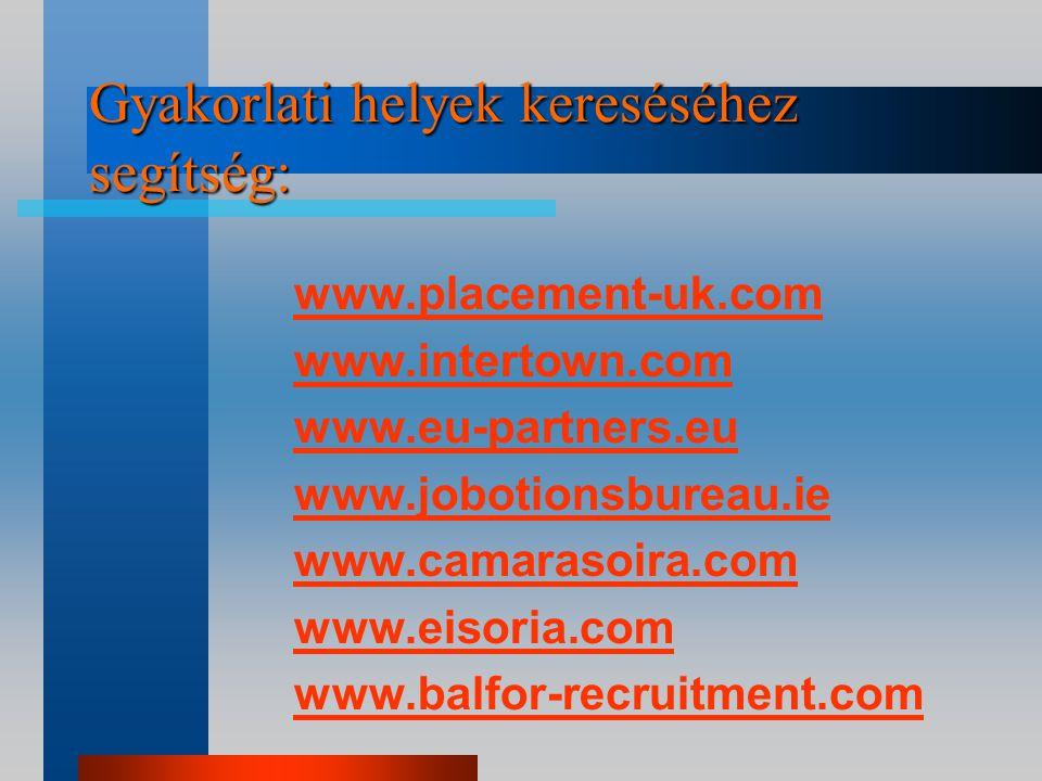 Tennivalók kiutazás előtt (Gyak.): Jelentkezés a fogadó intézménynél (keresni fogadóintézményt) Engedély az intézeti koordinátortól és a szakvezetőtől