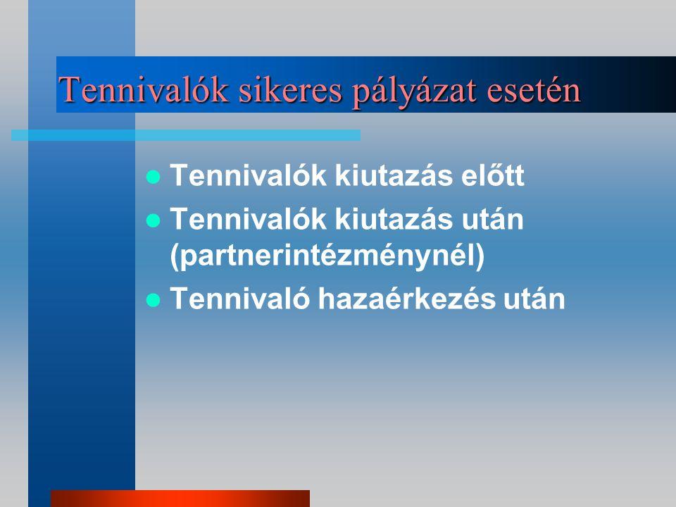 Egyéb források az ösztöndíjon kívül Nyelvi felkészítés (EILC) Hátrányos helyzetűek kieg.öszt.díja HÖK utazási támogatás (számla ellenében) Alapítványok, cégek
