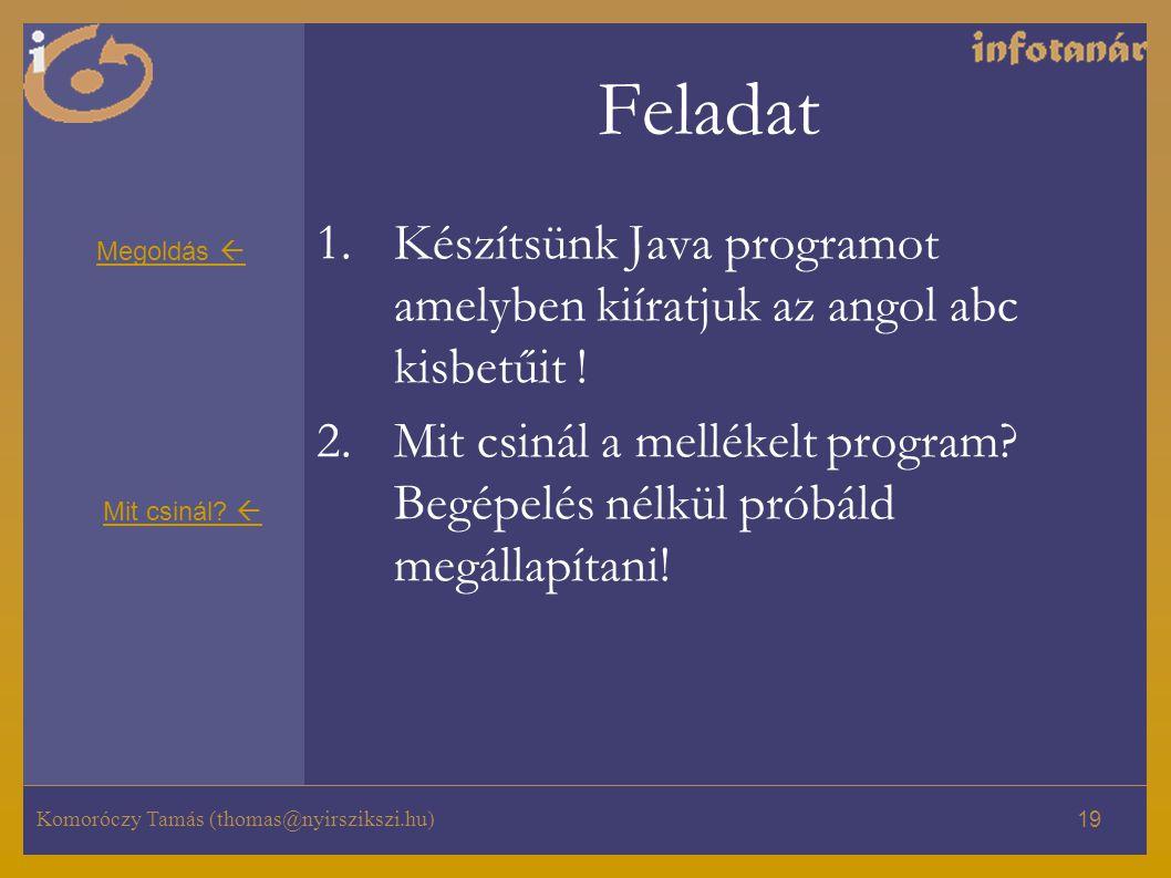 Komoróczy Tamás (thomas@nyirszikszi.hu) 19 Feladat 1.Készítsünk Java programot amelyben kiíratjuk az angol abc kisbetűit ! 2.Mit csinál a mellékelt pr