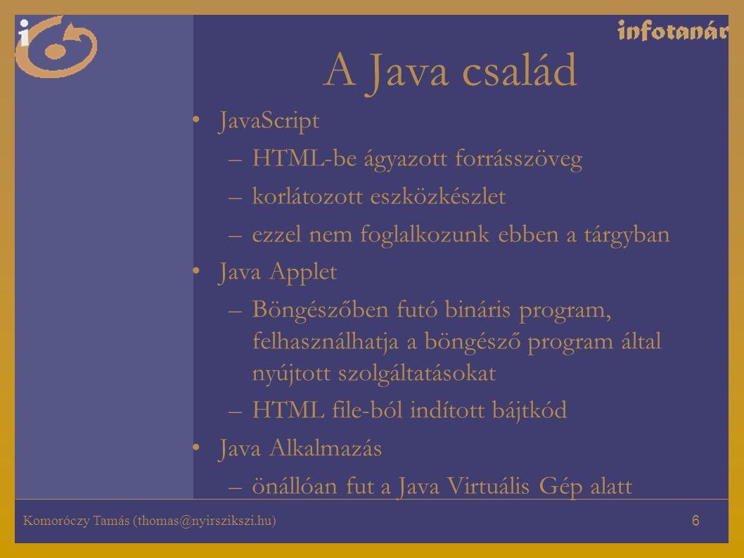Komoróczy Tamás (thomas@nyirszikszi.hu) 6 A Java család JavaScript –HTML-be ágyazott forrásszöveg –korlátozott eszközkészlet –ezzel nem foglalkozunk ebben a tárgyban Java Applet –Böngészőben futó bináris program, felhasználhatja a böngésző program által nyújtott szolgáltatásokat –HTML file-ból indított bájtkód Java Alkalmazás –önállóan fut a Java Virtuális Gép alatt