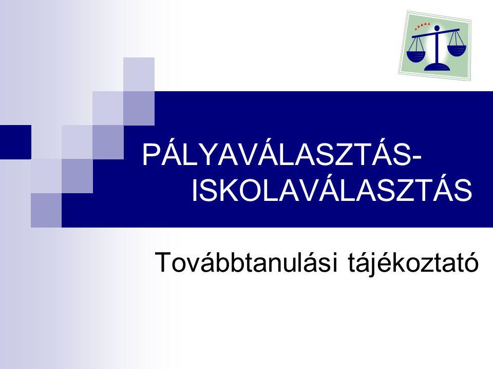 PÁLYAVÁLASZTÁS- ISKOLAVÁLASZTÁS Továbbtanulási tájékoztató