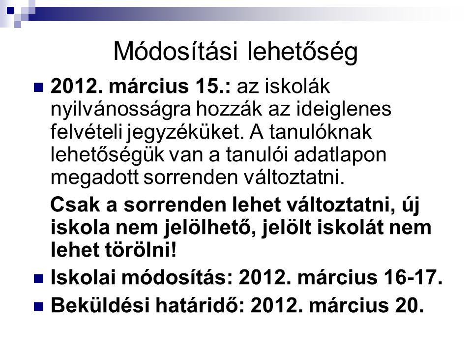 Módosítási lehetőség 2012. március 15.: az iskolák nyilvánosságra hozzák az ideiglenes felvételi jegyzéküket. A tanulóknak lehetőségük van a tanulói a