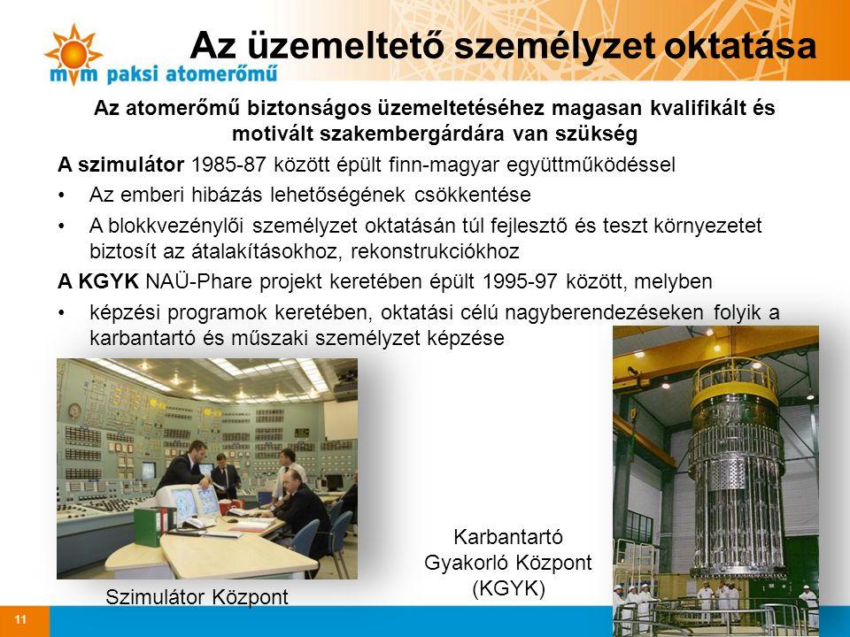 Az atomerőmű biztonságos üzemeltetéséhez magasan kvalifikált és motivált szakembergárdára van szükség A szimulátor 1985-87 között épült finn-magyar együttműködéssel Az emberi hibázás lehetőségének csökkentése A blokkvezénylői személyzet oktatásán túl fejlesztő és teszt környezetet biztosít az átalakításokhoz, rekonstrukciókhoz A KGYK NAÜ-Phare projekt keretében épült 1995-97 között, melyben képzési programok keretében, oktatási célú nagyberendezéseken folyik a karbantartó és műszaki személyzet képzése 11 Az üzemeltető személyzet oktatása Karbantartó Gyakorló Központ (KGYK) Szimulátor Központ