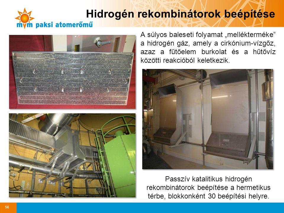 """Hidrogén rekombinátorok beépítése A súlyos baleseti folyamat """"mellékterméke"""" a hidrogén gáz, amely a cirkónium-vízgőz, azaz a fűtőelem burkolat és a h"""