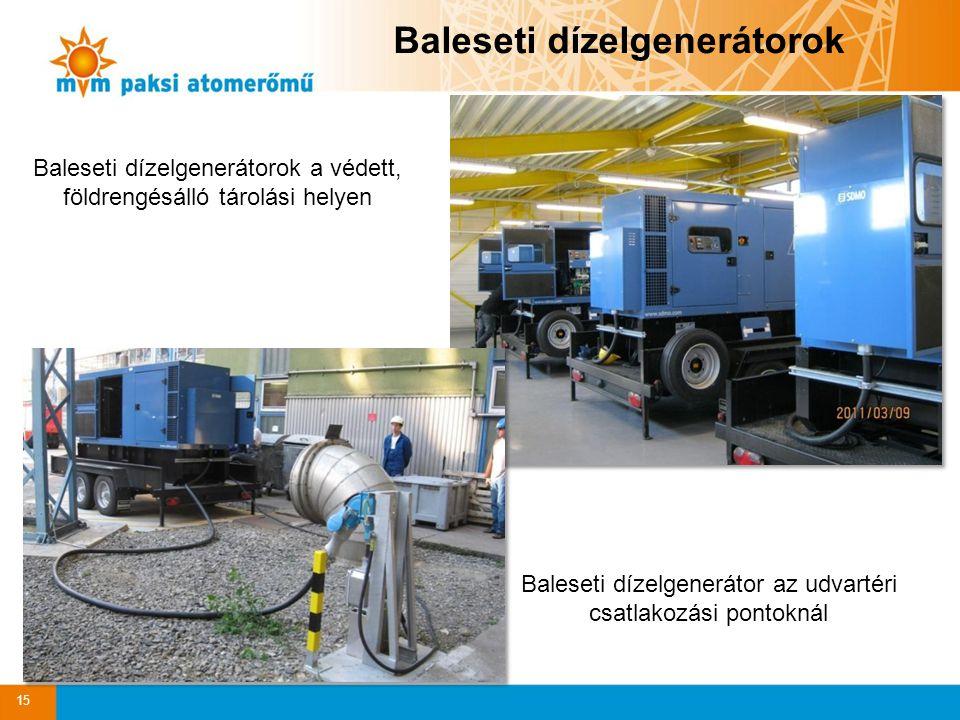 Baleseti dízelgenerátorok Baleseti dízelgenerátorok a védett, földrengésálló tárolási helyen Baleseti dízelgenerátor az udvartéri csatlakozási pontokn