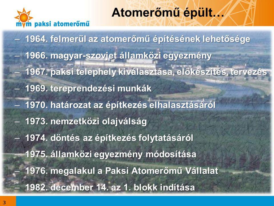 Atomerőmű épült… –1964. felmerül az atomerőmű építésének lehetősége –1966. magyar-szovjet államközi egyezmény –1967. paksi telephely kiválasztása, elő