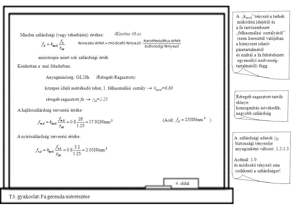 T3. gyakorlat: Fa gerenda méretezése (Kisokos 48.o) Minden szilárdsági (vagy teherbírási) értékre: Konkrétan a mai feladatban: Anyagminőség: GL28h (Ré