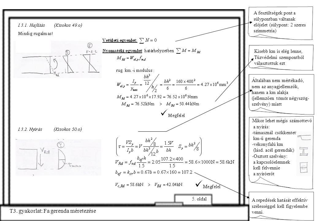 A feszültségek pont a súlypontban váltanak előjelet (súlypont: 2 szeres szimmetria) T3. gyakorlat: Fa gerenda méretezése 5. oldal Általában nem mérték