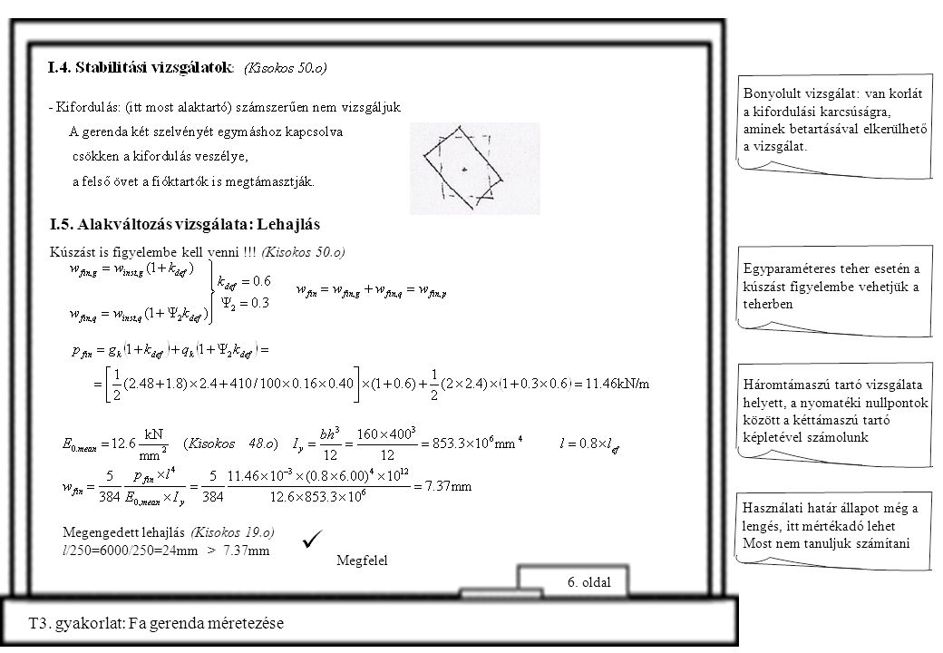 T3.gyakorlat: Fa gerenda méretezése 7.