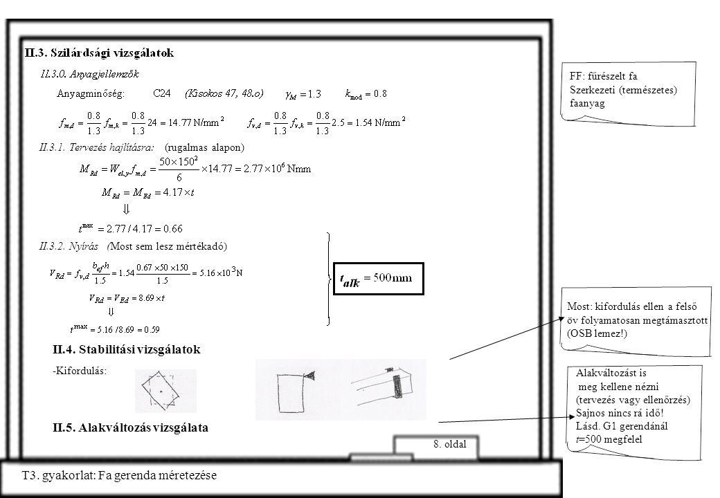 T3. gyakorlat: Fa gerenda méretezése 8. oldal II.3.1. Tervezés hajlításra: (rugalmas alapon) II.3.2. Nyírás (Most sem lesz mértékadó) Alakváltozást is