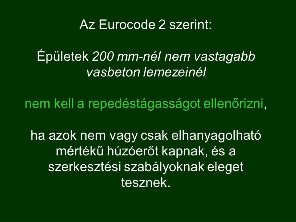 Az Eurocode 2 szerint: Épületek 200 mm-nél nem vastagabb vasbeton lemezeinél nem kell a repedéstágasságot ellenőrizni, ha azok nem vagy csak elhanyagolható mértékű húzóerőt kapnak, és a szerkesztési szabályoknak eleget tesznek.