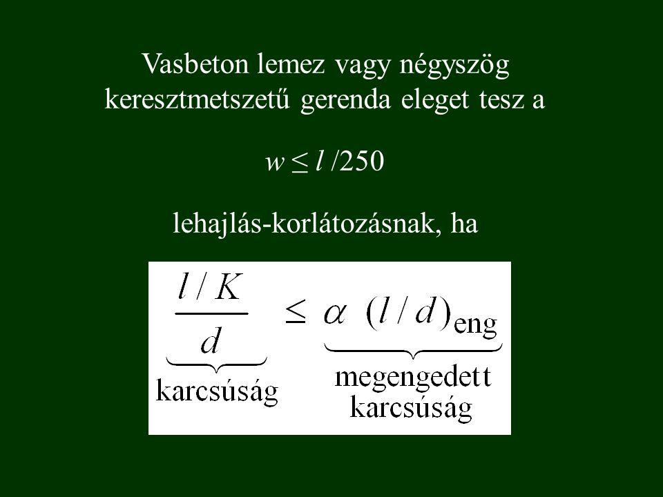 Vasbeton lemez vagy négyszög keresztmetszetű gerenda eleget tesz a w ≤ l /250 lehajlás-korlátozásnak, ha