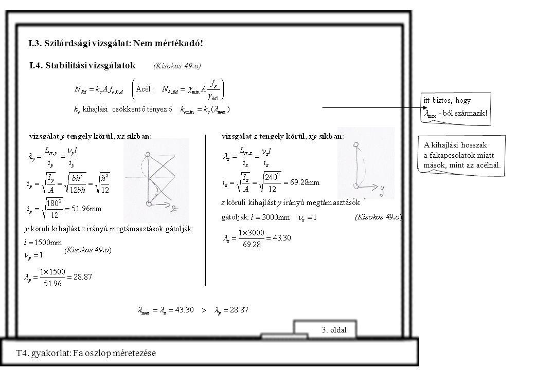 I.4. Stabilitási vizsgálatok (Kisokos 49.o) T4. gyakorlat: Fa oszlop méretezése 3. oldal I.3. Szilárdsági vizsgálat: Nem mértékadó! A kihajlási hossza