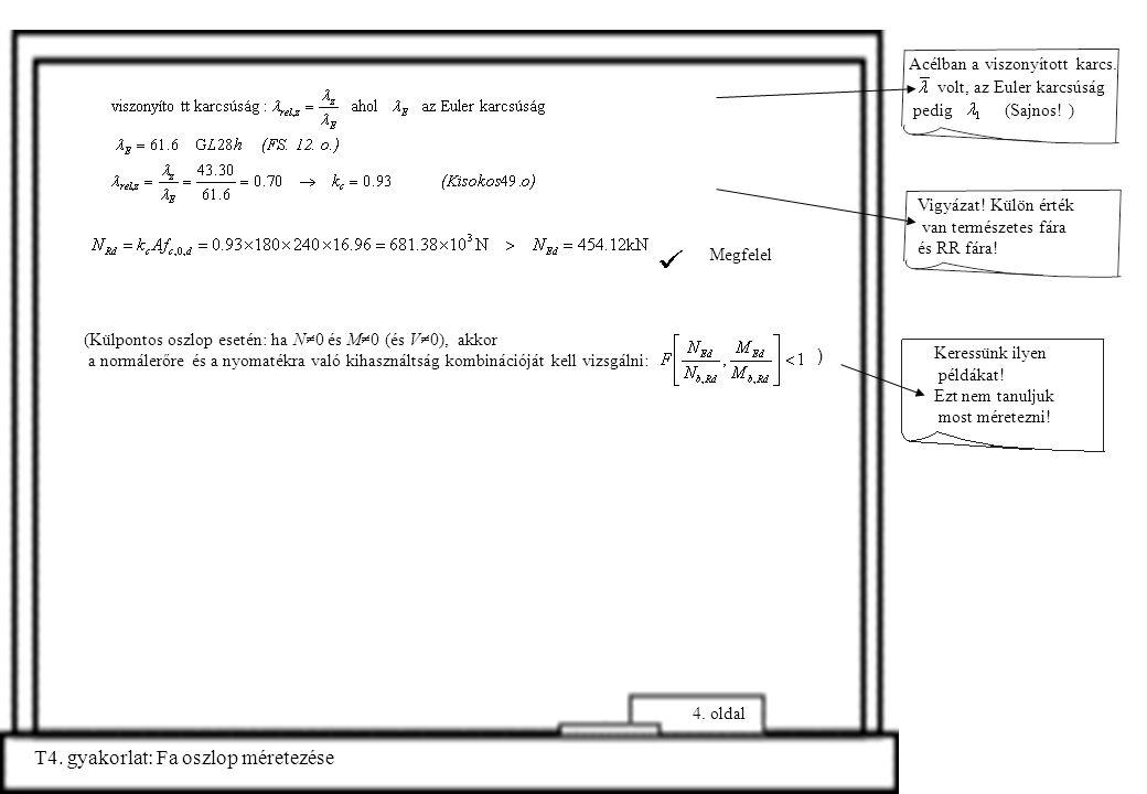 T4. gyakorlat: Fa oszlop méretezése 4. oldal Acélban a viszonyított karcs. volt, az Euler karcsúság pedig (Sajnos! ) Vigyázat! Külön érték van termész