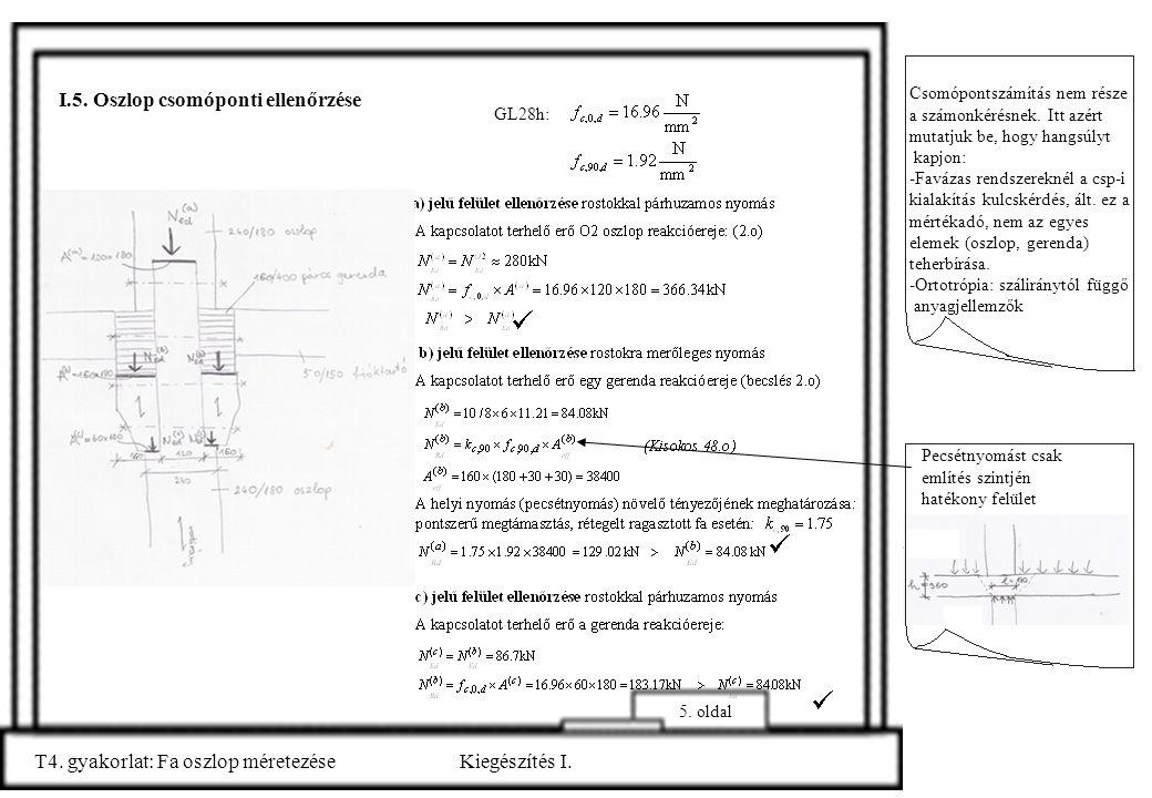 5. oldal Pecsétnyomást csak említés szintjén hatékony felület T4. gyakorlat: Fa oszlop méretezéseKiegészítés I. I.5. Oszlop csomóponti ellenőrzése Cso