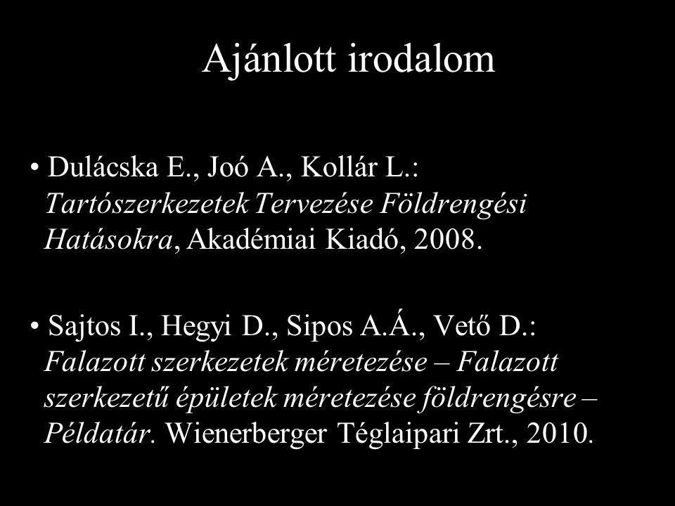 Ajánlott irodalom Dulácska E., Joó A., Kollár L.: Tartószerkezetek Tervezése Földrengési Hatásokra, Akadémiai Kiadó, 2008. Sajtos I., Hegyi D., Sipos