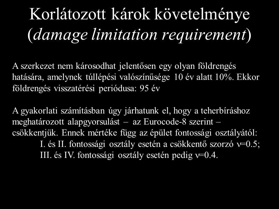 Korlátozott károk követelménye (damage limitation requirement) A szerkezet nem károsodhat jelentősen egy olyan földrengés hatására, amelynek túllépési