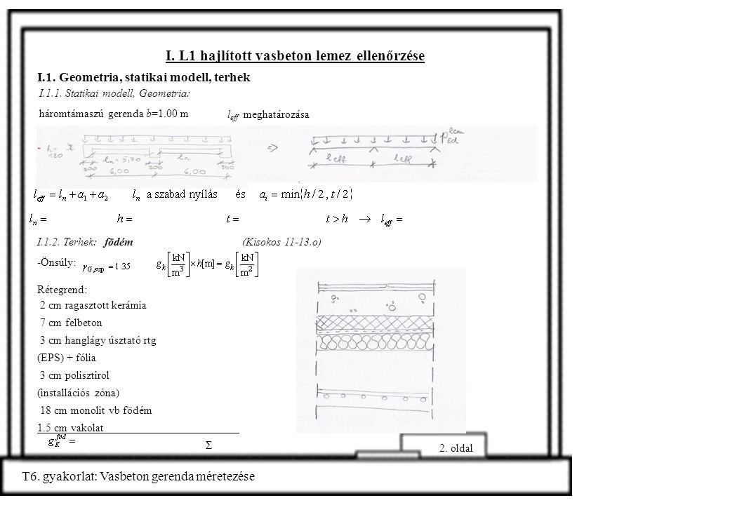 I. L1 hajlított vasbeton lemez ellenőrzése I.1. Geometria, statikai modell, terhek l eff meghatározása 2. oldal T6. gyakorlat: Vasbeton gerenda mérete
