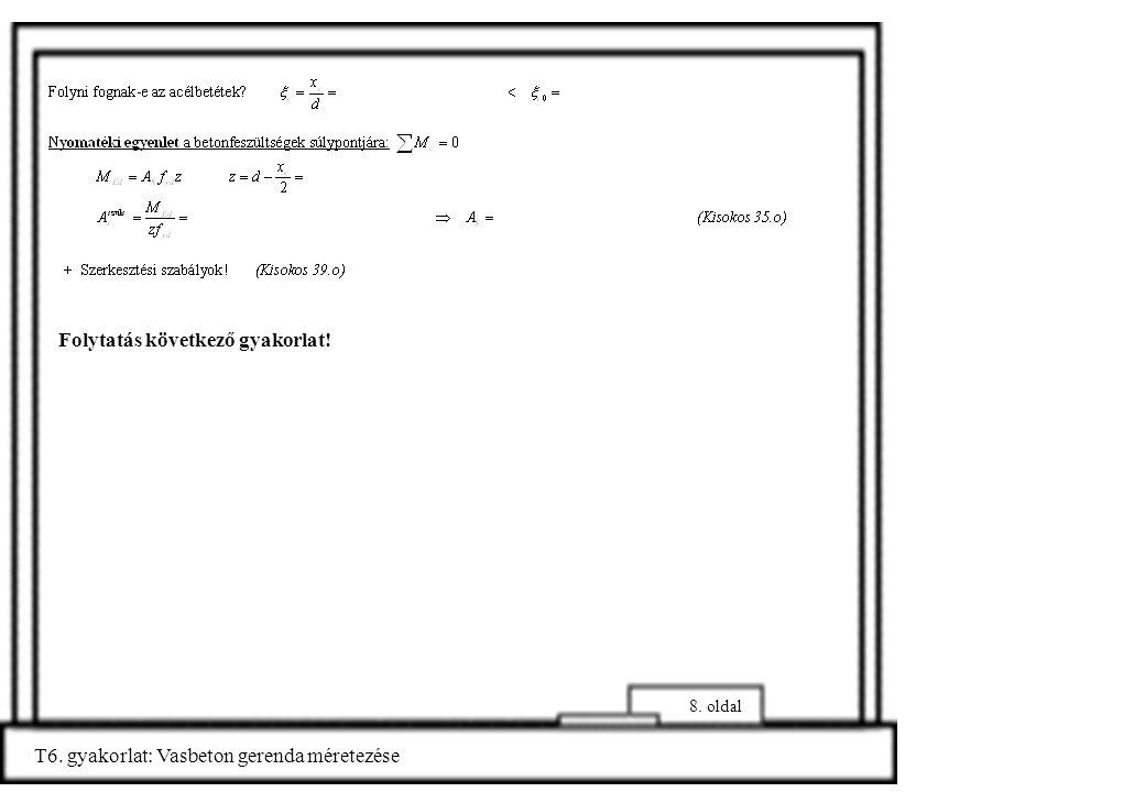 8. oldal T6. gyakorlat: Vasbeton gerenda méretezése Folytatás következő gyakorlat!