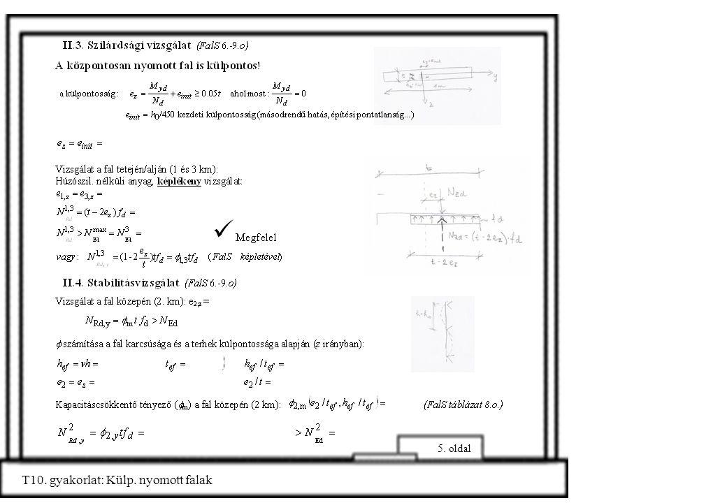 5. oldal T10. gyakorlat: Külp. nyomott falak