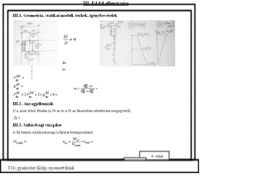 6. oldal T10. gyakorlat: Külp. nyomott falak