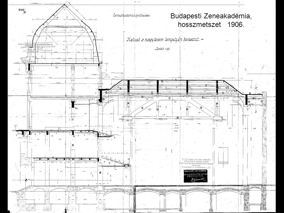 Budapesti Zeneakadémia, hosszmetszet 1906.