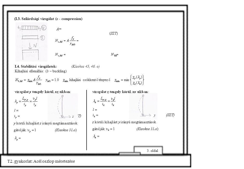 (I.3. Szilárdsági vizsgálat (c - compression) I.4. Stabilitási vizsgálatok: (Kisokos 45, 46. o) Kihajlási ellenállás: (b – buckling) T2. gyakorlat: Ac