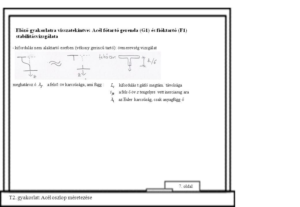 T2. gyakorlat: Acél oszlop méretezése 7. oldal