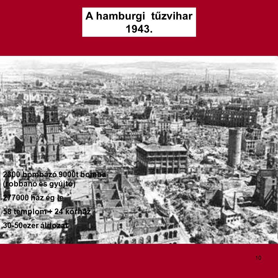 2300 bombázó 9000t bomba (robbanó és gyújtó) 277000 ház ég le 58 templom + 24 kórház 30-50ezer áldozat 10