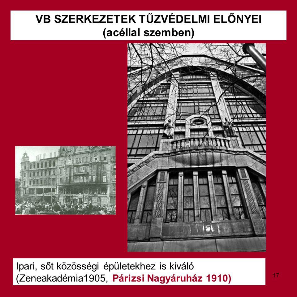 VB SZERKEZETEK TŰZVÉDELMI ELŐNYEI (acéllal szemben) Ipari, sőt közösségi épületekhez is kiváló (Zeneakadémia1905, Párizsi Nagyáruház 1910) 17