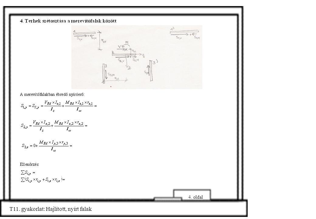 4. oldal T11. gyakorlat: Hajlított, nyírt falak