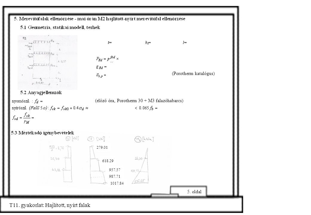 5. oldal (előző óra, Porotherm 30 + M3 falazóhabarcs) (Porotherm katalógus) T11. gyakorlat: Hajlított, nyírt falak 279.01 618.29 957.57 987.71 1017.84