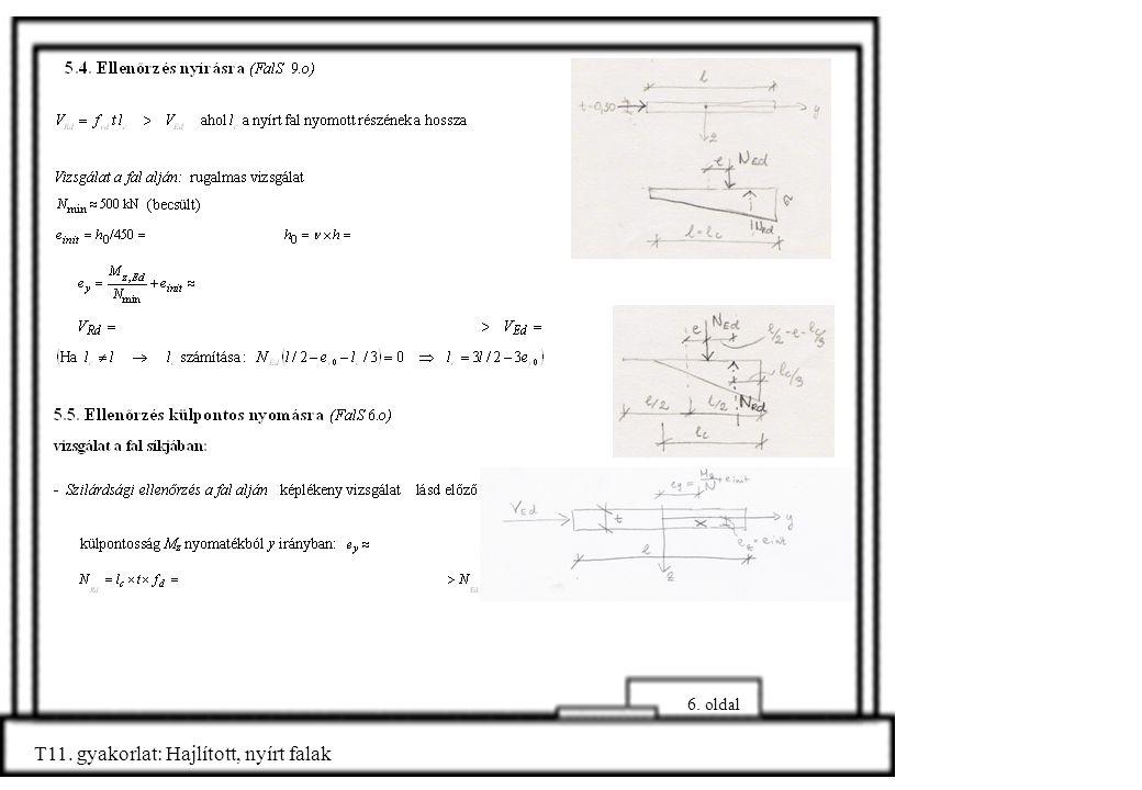 6. oldal T11. gyakorlat: Hajlított, nyírt falak
