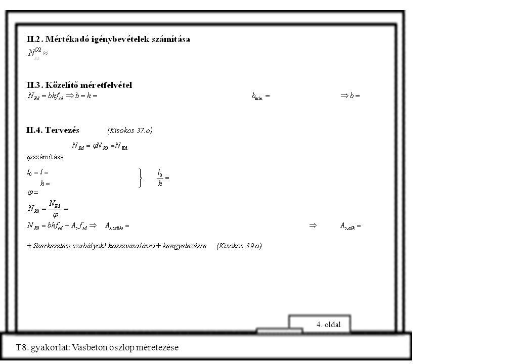 T8. gyakorlat: Vasbeton oszlop méretezése 5. oldal