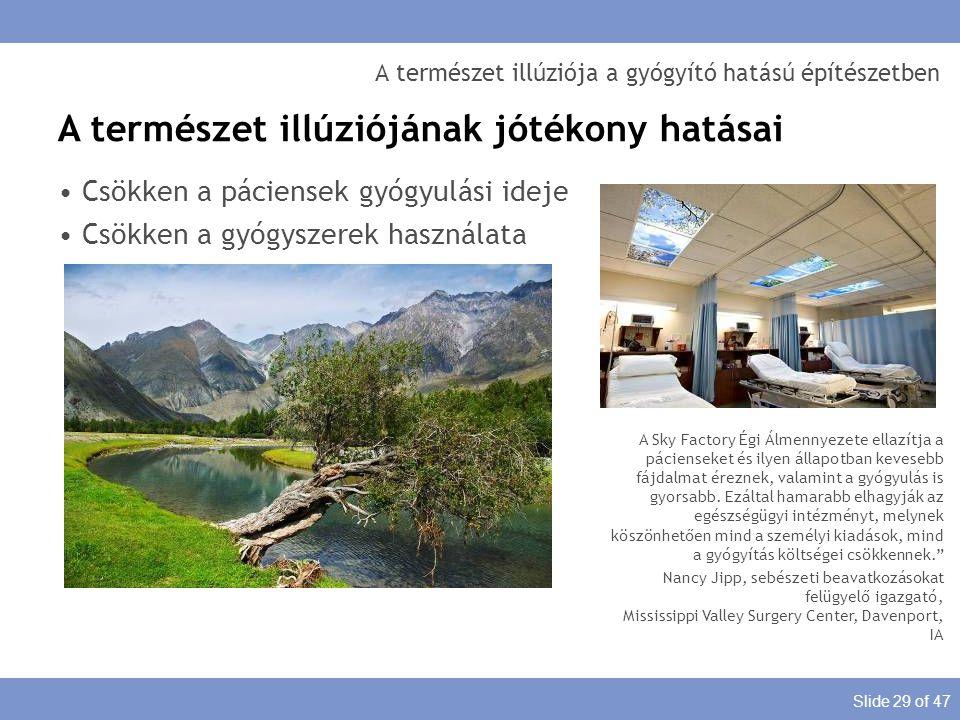 Slide 29 of 47 A természet illúziója a gyógyító hatású építészetben A természet illúziójának jótékony hatásai Csökken a páciensek gyógyulási ideje Csö